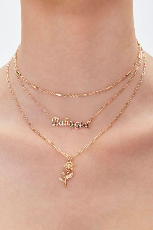 Upcycled Babygirl Pendant Layered Necklace, image 1