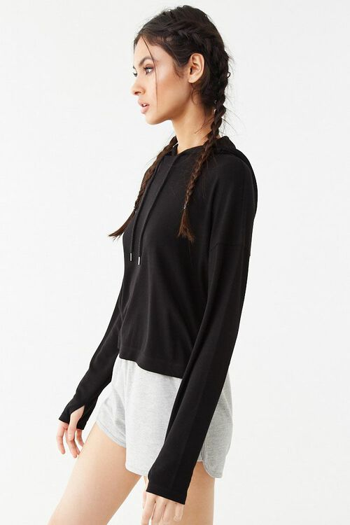 Active Ribbed Hooded Top, image 2