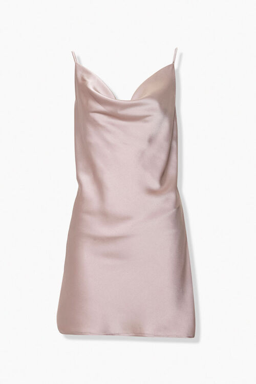 Satin Cowl Neck Slip Dress, image 1