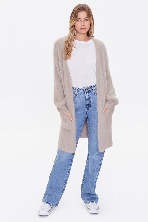 TAUPE Fuzzy Knit Cardigan Sweater, image 4