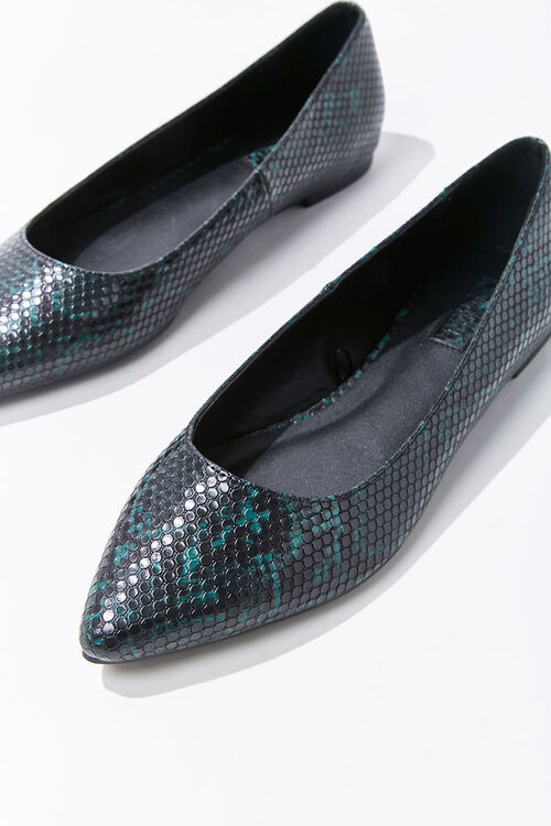 Marbled Faux Snakeskin Flats, image 3