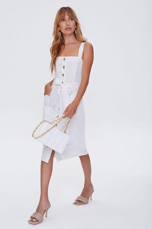 Linen-Blend Button-Front Dress, image 1