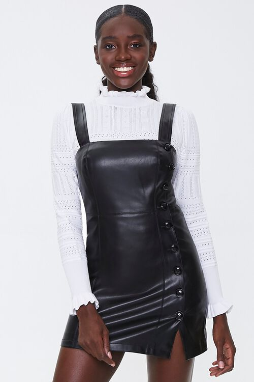 Faux Leather Pinafore Dress, image 1