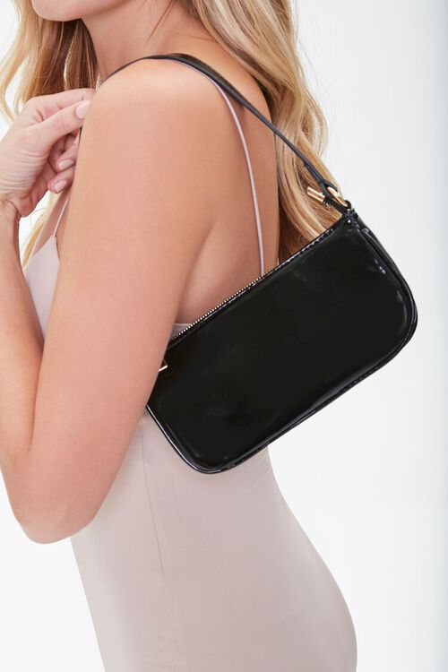 Faux Patent Leather Shoulder Bag, image 1