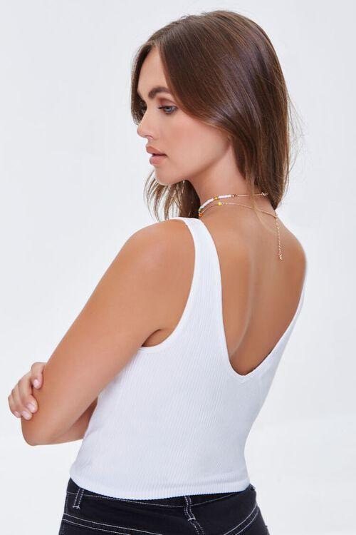 WHITE Ribbed Knit Tank Top, image 3
