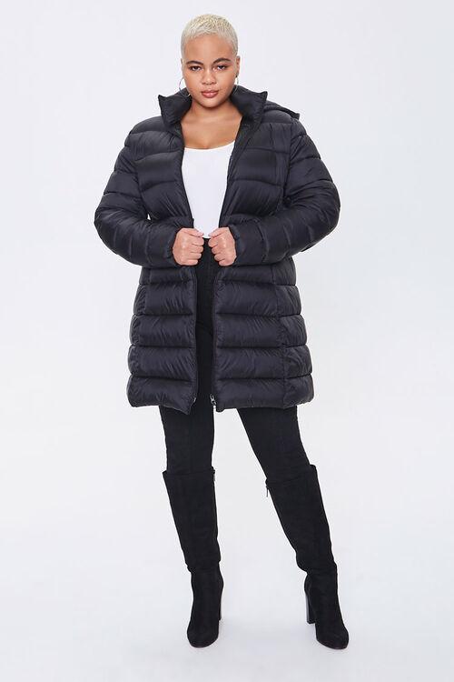 Plus Size Hooded Longline Puffer Jacket, image 4