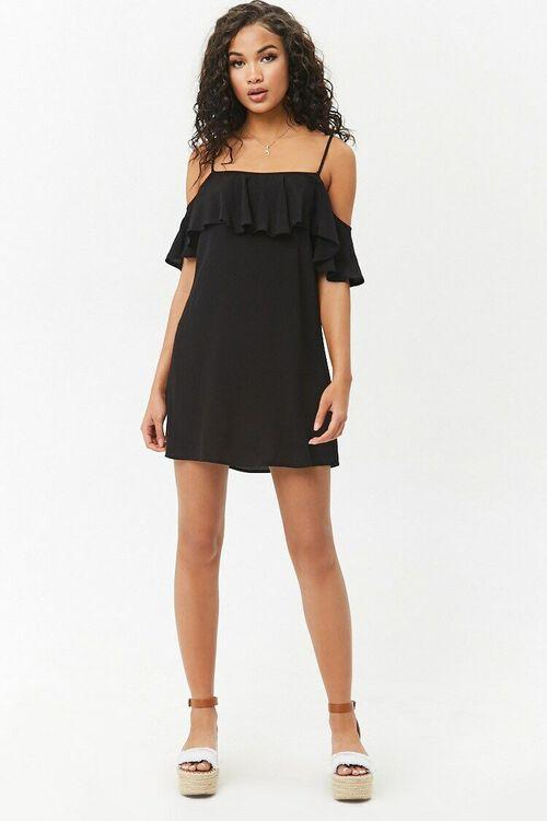 Open-Shoulder Flounce Dress, image 4