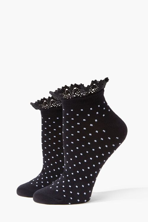 Polka Dot Lace-Trim Ankle Socks, image 1