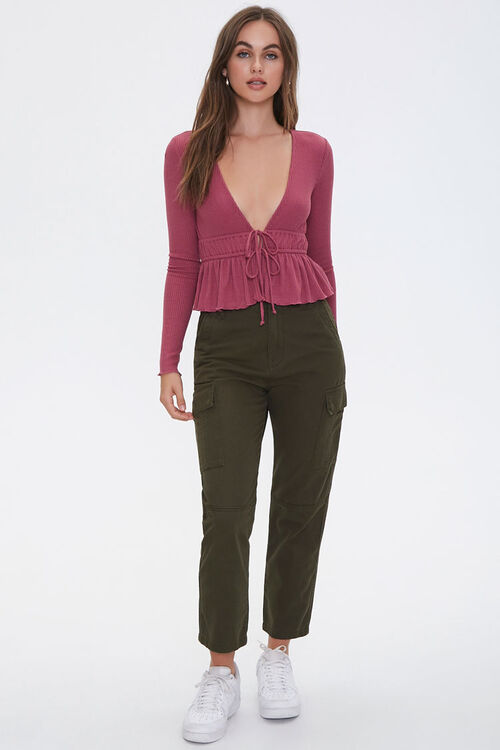 Ribbed Tie-Front Top, image 4