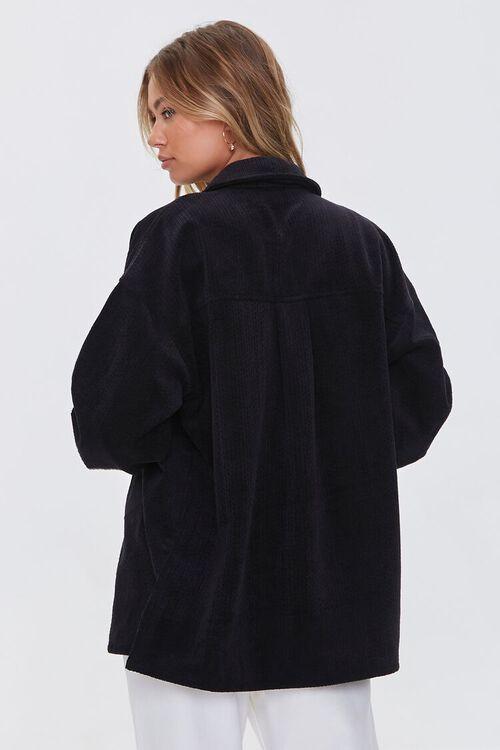 BLACK Corduroy Button-Front Shacket, image 3