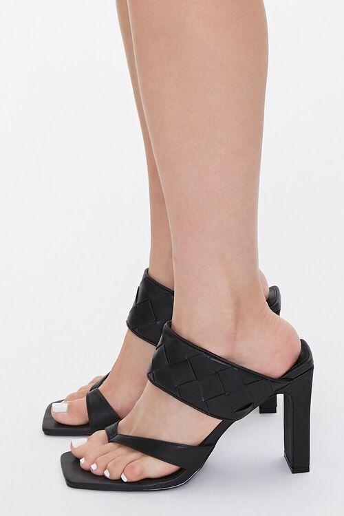 BLACK Basketwoven Toe-Ring Heels, image 2
