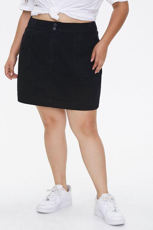 BLACK Plus Size Denim Mini Skirt, image 2