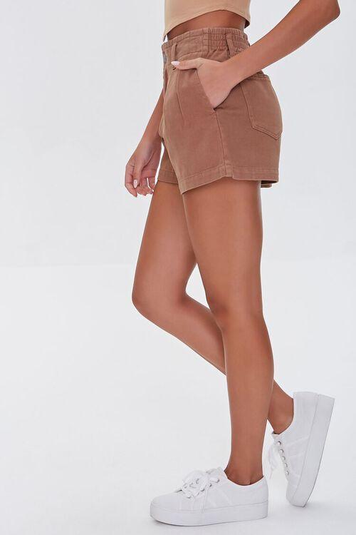 Pleated High-Waist Denim Shorts, image 3