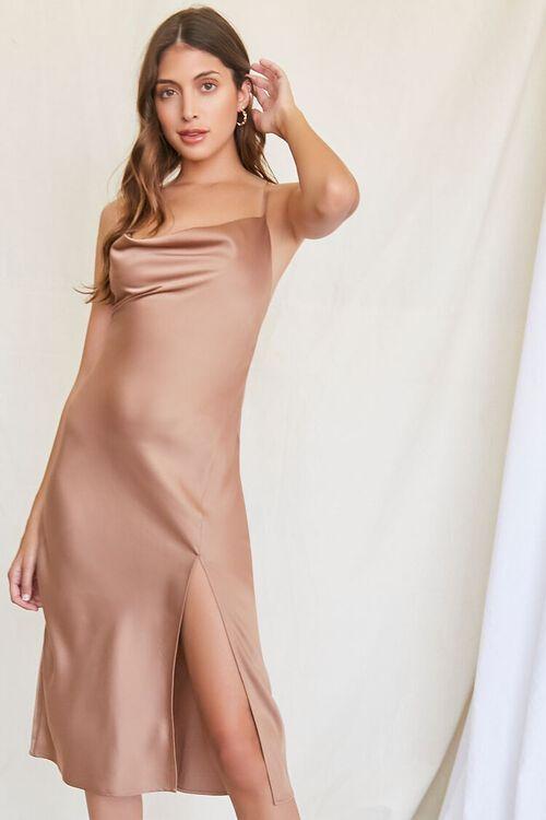 BROWN Satin Cowl Slip Dress, image 1