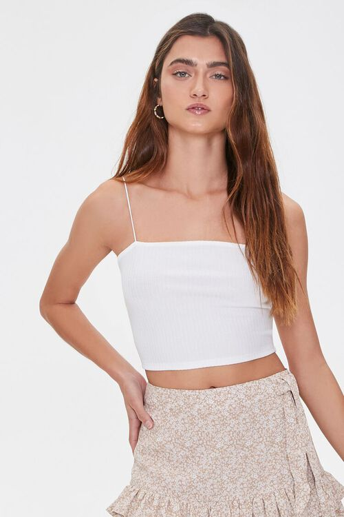 Ribbed Knit Cropped Cami, image 1
