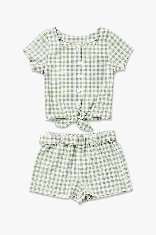 Gingham Knotted Top & Shorts Set, image 3
