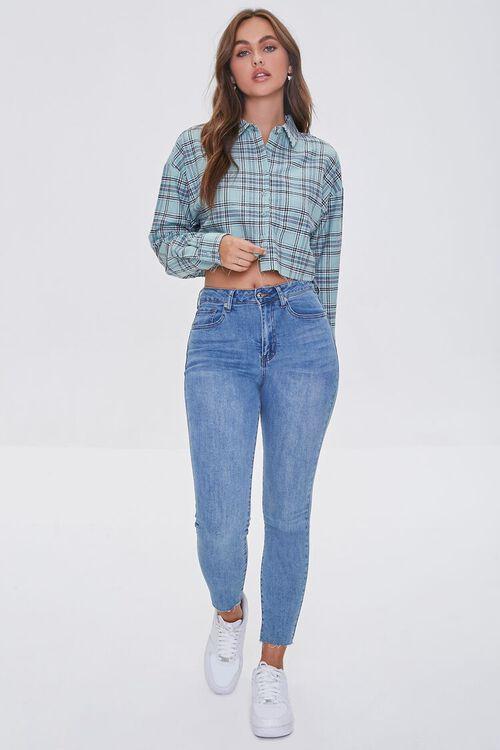 Raw-Cut Cropped Plaid Shirt, image 4