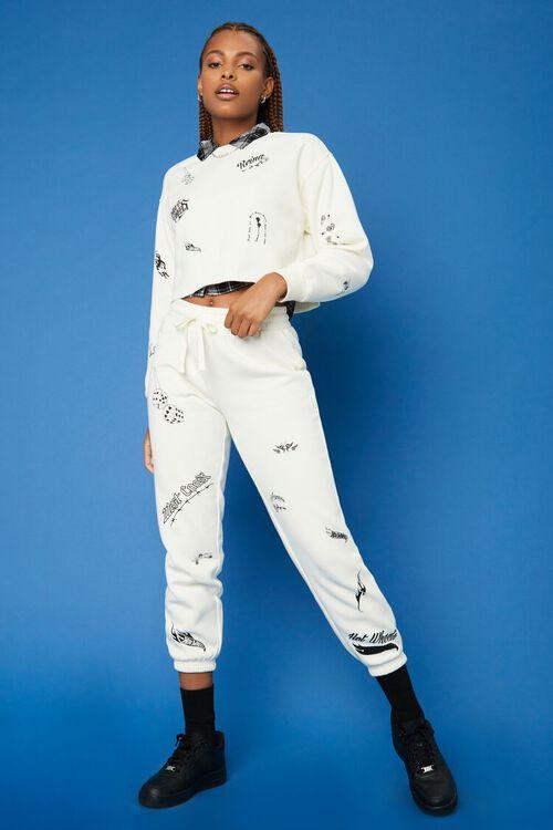 CREAM/BLACK Hot Wheels Fleece Pullover, image 4