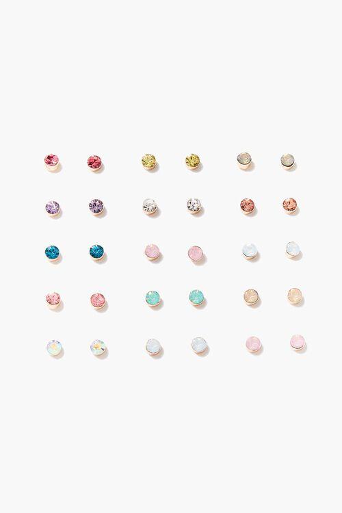 GOLD/MULTI Assorted Faux Gem Stud Earring Set, image 1