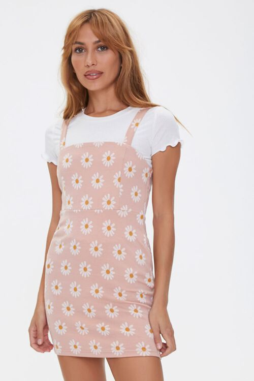 Daisy Print Overall Dress, image 1
