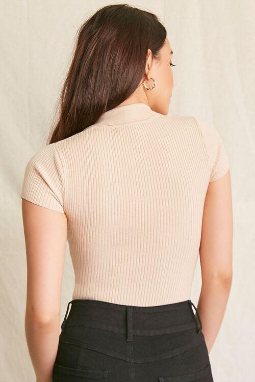 BEIGE Ribbed Sweater-Knit Bodysuit, image 3