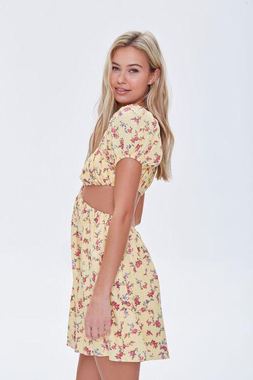 YELLOW/MULTI Floral Cutout Mini Dress, image 2
