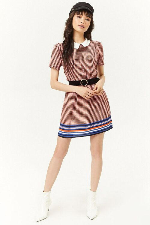 Multicolor Houndstooth Striped-Trim Dress, image 4