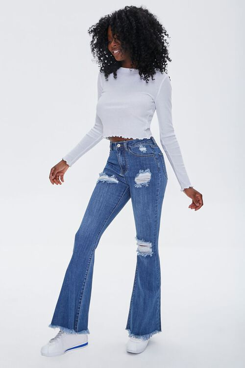 Frayed Distressed Flare Jeans, image 1