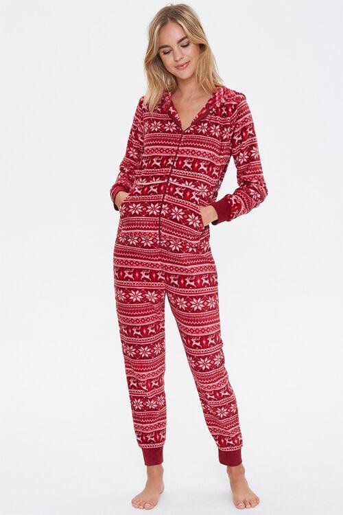 Fair Isle Hooded Pajama Jumpsuit, image 4