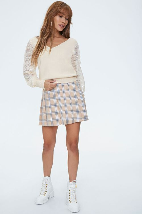 Ribbed Sequin-Sleeve Sweater, image 4