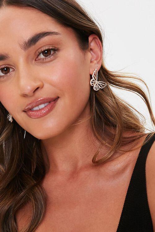 Butterfly Rhinestone Stud Earrings, image 1