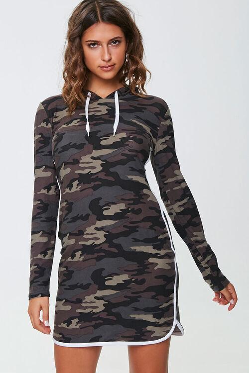 Camo Print Hoodie Dress, image 1
