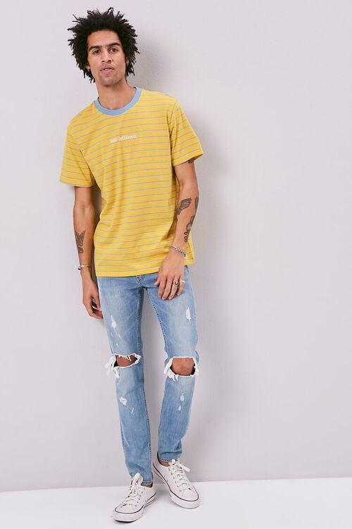 YELLOW/BLUE Bad Influence Embroidered Graphic Striped Tee, image 4