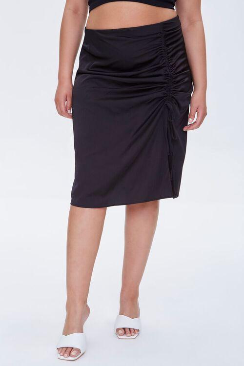 Plus Size Ruched Drawstring Skirt, image 2