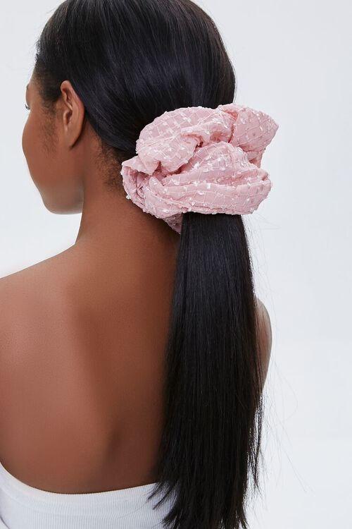 PINK Grid Print Hair Scrunchie, image 1