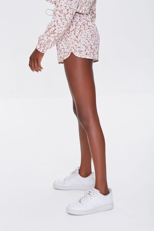 MAUVE/WHITE Active Floral Print Shorts, image 3
