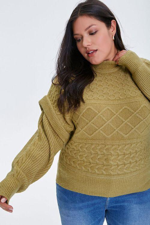 Plus Size Layered Mock Neck Sweater, image 1