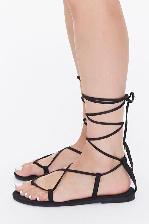 BLACK Thong-Toe Gladiator Sandals, image 2