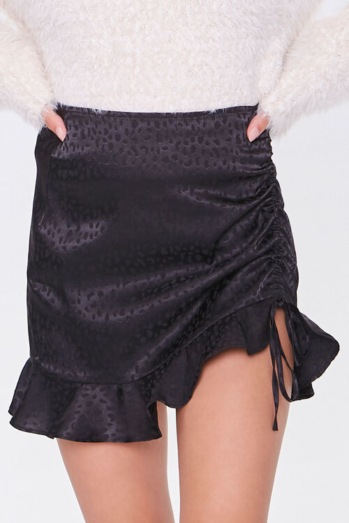 BLACK Satin Cheetah Print Mini Skirt, image 2