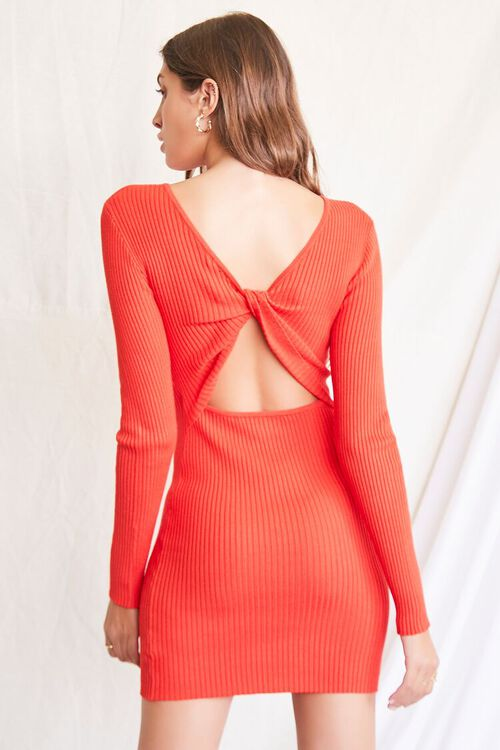 RED Twisted-Back Sweater Dress, image 4