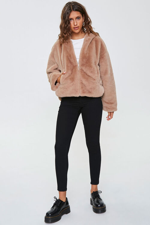 Plush Faux Fur Zip-Up Hoodie, image 4