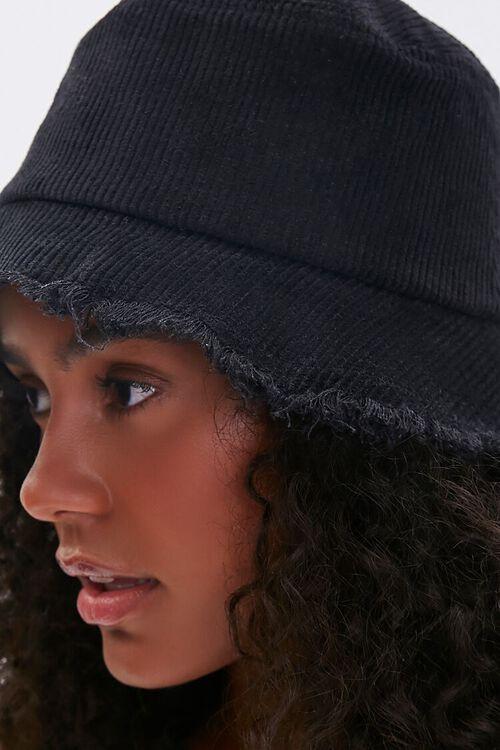 BLACK Frayed Corduroy Bucket Hat, image 2