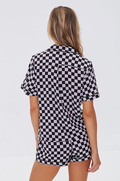 BLACK/VIOLET Checkered Print Pajama Set, image 4