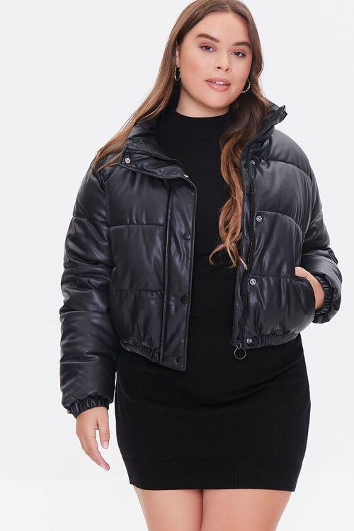 BLACK Plus Size Faux Leather Puffer Jacket, image 1