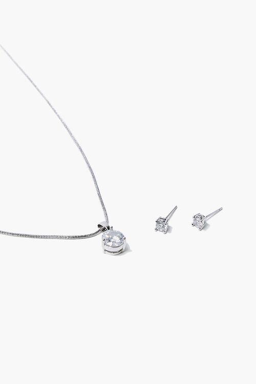 Faux Gem Necklace & Earring Set, image 1