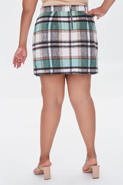 TAUPE/MULTI Plus Size Plaid Zippered Mini Skirt, image 4