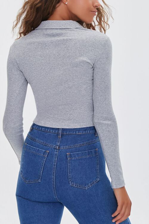HEATHER GREY Collared Long Sleeve Top, image 3