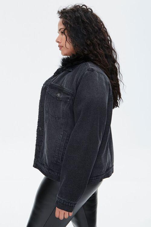 Plus Size Faux Fur-Trim Denim Jacket, image 2