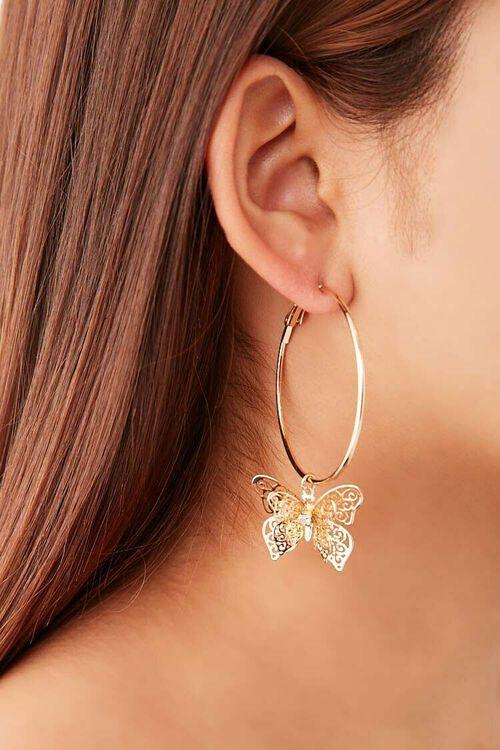GOLD Butterfly Hoop Earrings, image 2