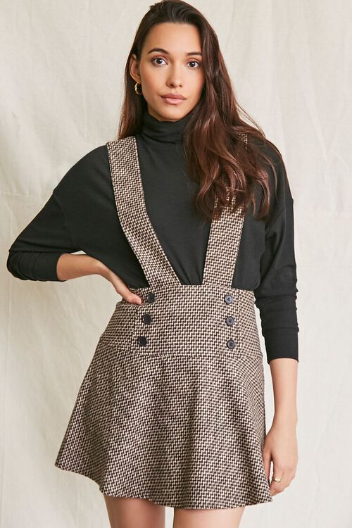 BROWN/MULTI Double-Breasted Mini Pinafore Dress, image 1